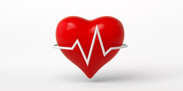 Ilustración 3d del icono de frecuencia cardíaca