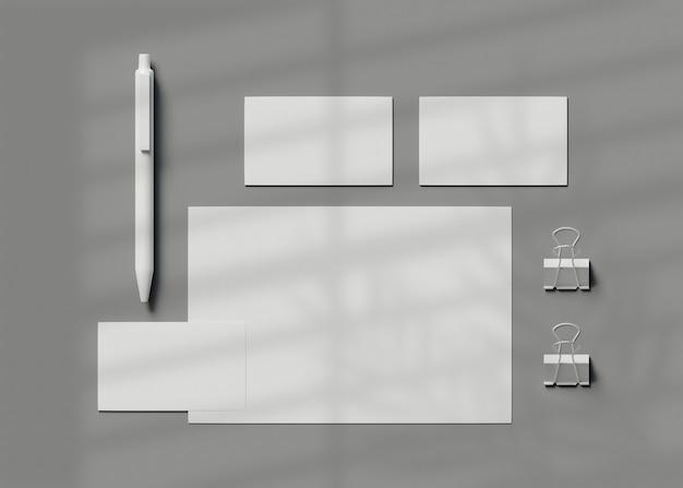 Ilustración 3d. identidad corporativa. maqueta de conjunto de marca estacionaria.