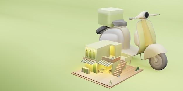 Ilustración 3d de imagen de dibujos animados de servicio de entrega de restaurante de cafetería modelo de tienda de postres
