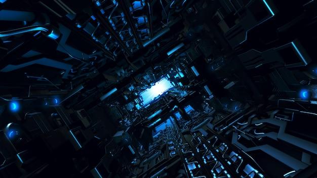 Ilustración 3d del interior de la nave espacial de diseño futurista