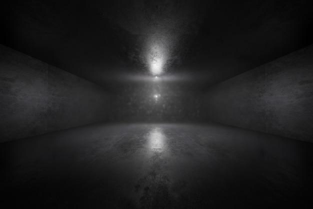 Ilustración 3d de un interior oscuro