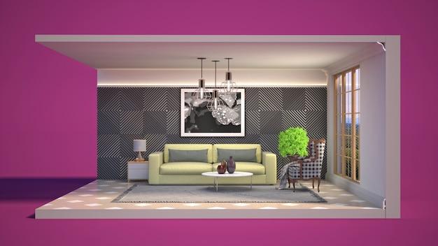 Ilustración 3d interior de la sala de estar en una caja