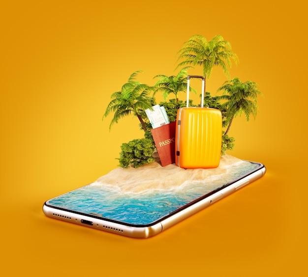 Ilustración 3d de una isla tropical con palmeras, maleta y pasaporte en la pantalla de un teléfono inteligente