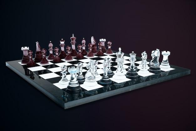 Ilustración 3d juego de ajedrez a bordo. conceptos ideas de negocio e ideas de estrategia. figuras de ajedrez de cristal en una oscuridad con efectos de profundidad de campo.