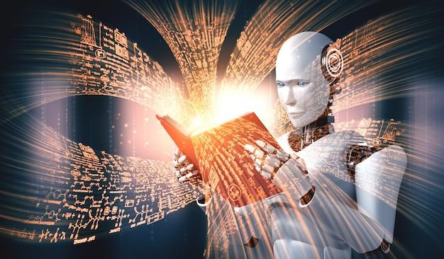 Ilustración 3d del libro de lectura robot humanoide y resolución de matemáticas