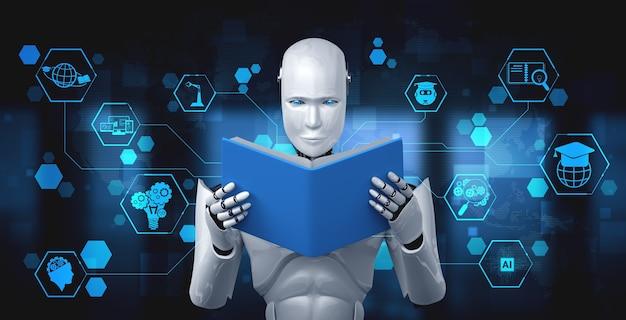 Ilustración 3d del libro de lectura robot humanoide