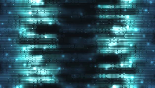 Ilustración 3d líneas y puntos en un fondo azul oscuro concepto de tecnología digital de alta tecnología fondo de líneas abstractas futuristas, alineación curva