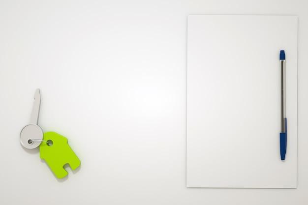 Ilustración 3d de la llave de la casa sobre una mesa blanca. llave de la casa, apartamento con llavero verde en forma de casa. papel con un bolígrafo al lado. gráficos 3d