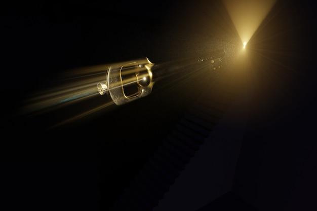 Ilustración 3d. la llave del cohete del éxito se cierra para abrir la puerta.