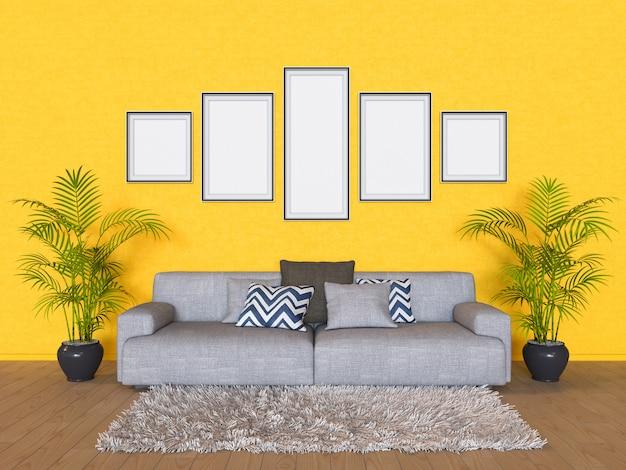 Ilustración 3d de una maqueta de diseño de interiores.