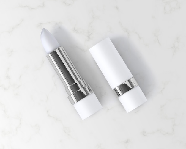Ilustración 3d. maqueta de lápices labiales aislado sobre fondo blanco.
