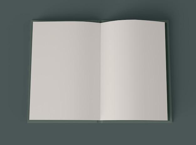 Ilustración 3d maqueta de libro abierto con páginas en blanco.