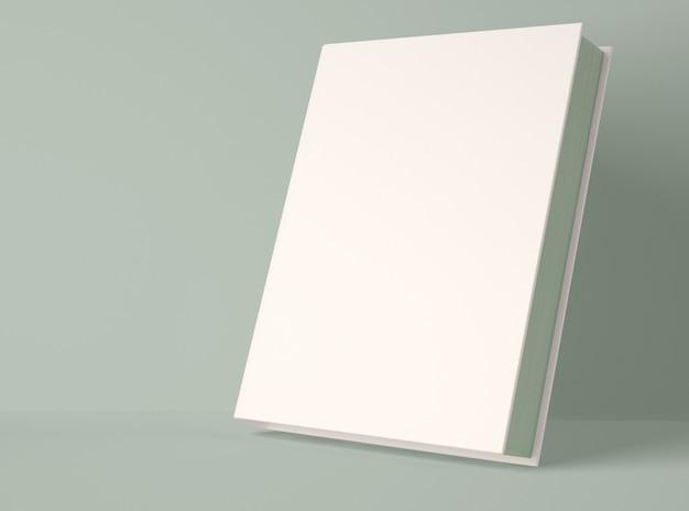 Ilustración 3d maqueta de libro de tapa dura en blanco.