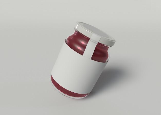 Ilustración 3d. maqueta de un tarro de mermelada con una etiqueta en blanco sobre fondo blanco aislado. concepto de embalaje.