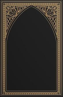 Ilustración 3d. marco dorado clásico en estilo gótico.