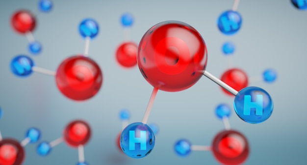 Ilustración 3d del modelo de la molécula de agua.