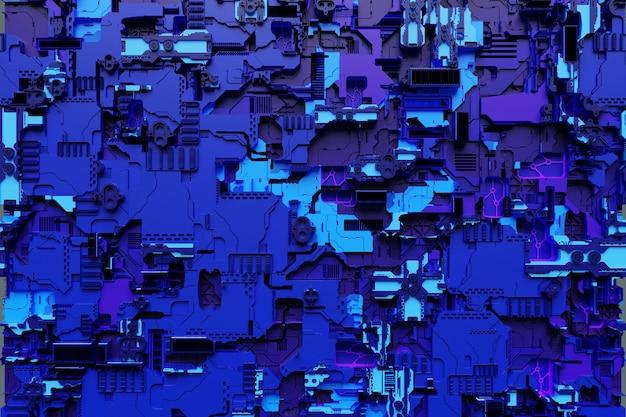 Ilustración 3d de un modelo realista de un robot o una armadura cibernética azul. equipo de primer plano para la minería de cripto-bitcoins; éter. tarjetas de video; placas base