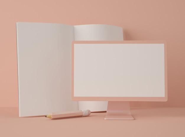 Ilustración 3d monitor de la computadora con un libro y un lápiz.