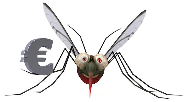 Ilustración 3d de mosquitos
