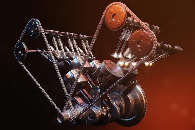 Ilustración 3d de un motor de combustión interna. piezas del motor, cigüeñal, pistones, sistema de suministro de combustible. pistones del motor v6 con cigüeñal sobre un fondo negro. ilustración del motor del coche en el interior.