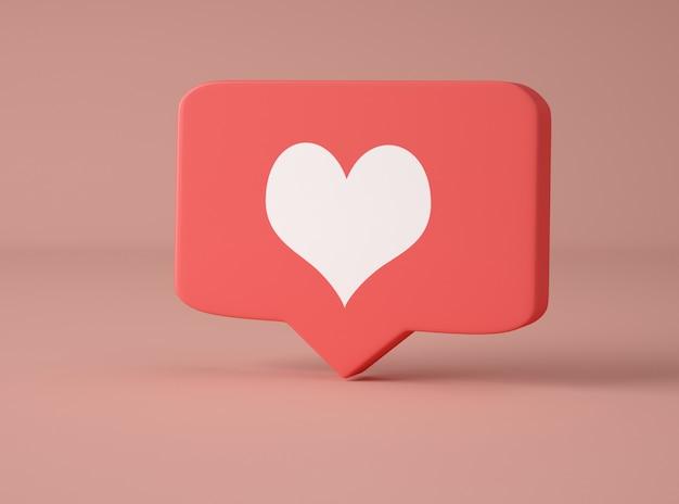 Ilustración 3d notificación de redes sociales.