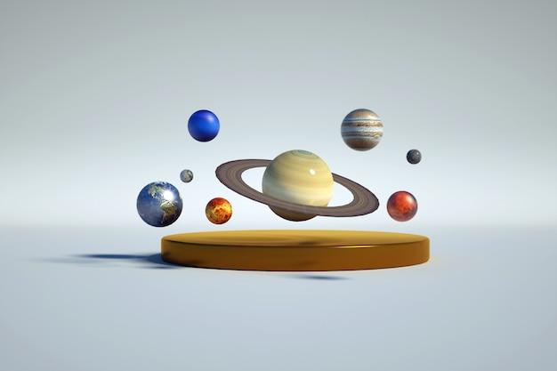 Ilustración 3d de objetos multicolores del planeta y anillos alrededor de él orbita gráfico 3d