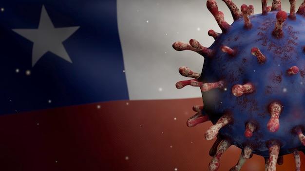 Ilustración 3d ondeando la bandera chilena y el concepto de coronavirus 2019 ncov. brote asiático en chile, coronavirus influenza como casos peligrosos de cepa de influenza como pandemia. microscopio virus covid19 de cerca.