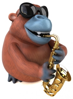 Ilustración 3d de orangután divertido