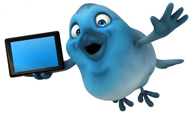 Ilustración 3d de pájaro azul