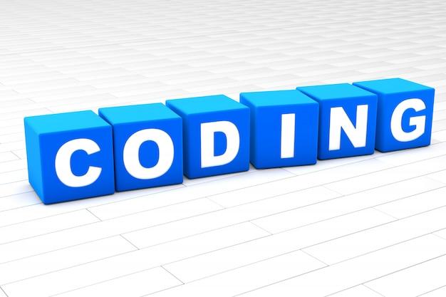 Ilustración 3d de la palabra codificación