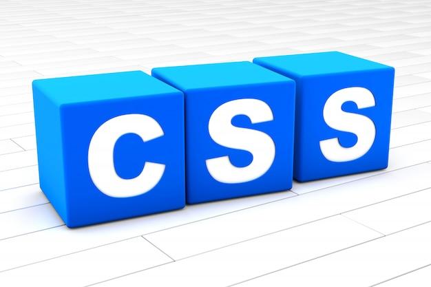 Ilustración 3d de la palabra css