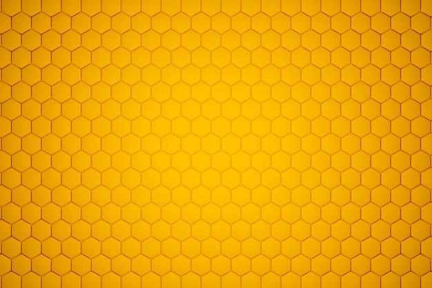 Ilustración 3d de un panal de abeja monocromo amarillo panal de miel.