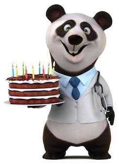Ilustración 3d de panda divertido