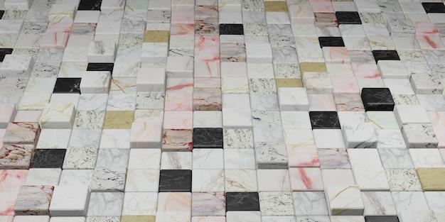 Ilustración 3d de la pared de textura de mármol colorida del bloque de mármol