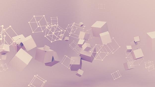 Ilustración 3d de partícula de minimalismo de estudio de fondo púrpura rosa abstracto
