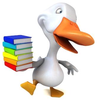 Ilustración 3d de pato divertido