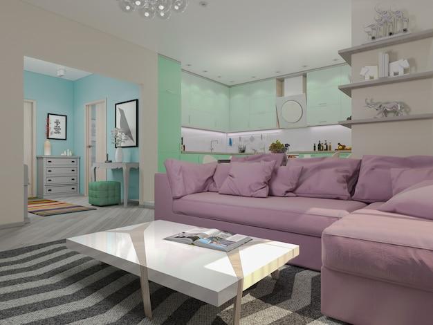 Ilustración 3d de pequeños apartamentos en colores en colores pastel.