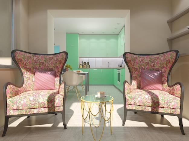 Ilustración 3d de pequeños apartamentos en colores pastel.