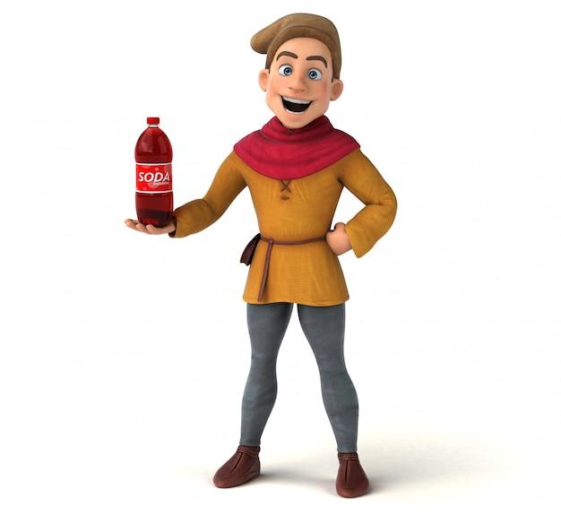 Ilustración 3d de un personaje histórico medieval