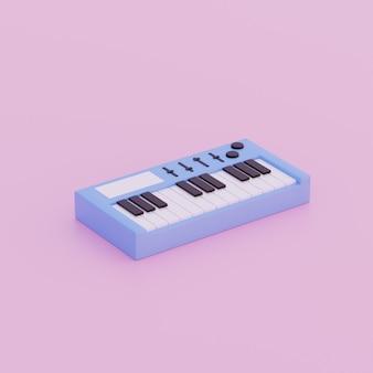 Ilustración 3d de piano de objeto simple