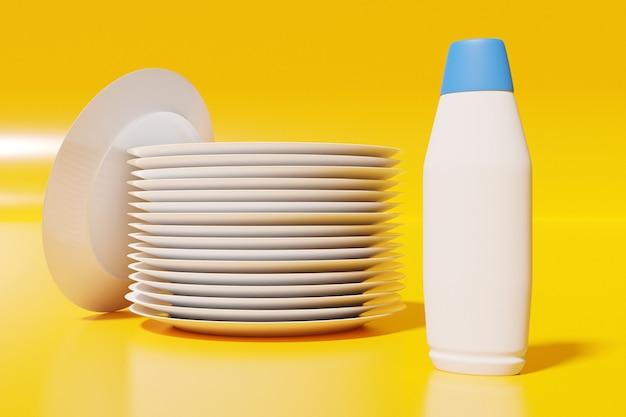 Ilustración 3d de una pila de platos blancos idénticos con una botella de utensilios