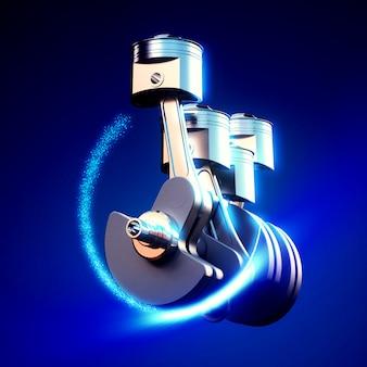 Ilustración 3d de pitones del motor