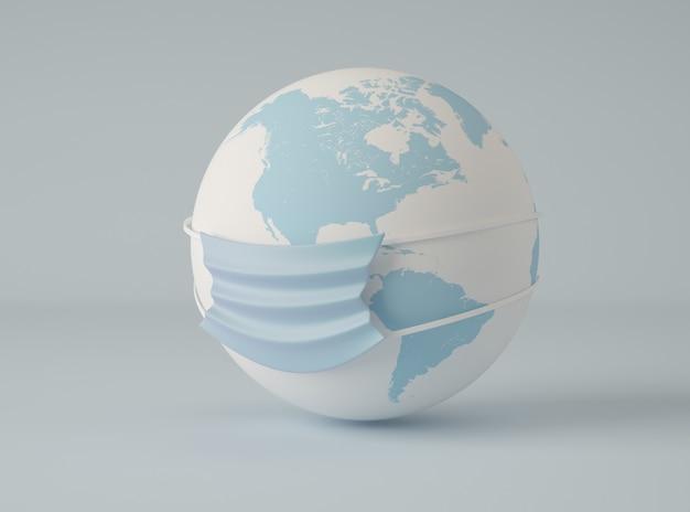 Ilustración 3d planeta tierra con una máscara protectora.