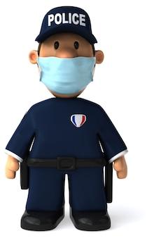 Ilustración 3d de un policía de dibujos animados