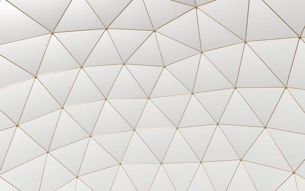 Ilustración 3d. polígonos de abstracción de fondo oro y fondo blanco.