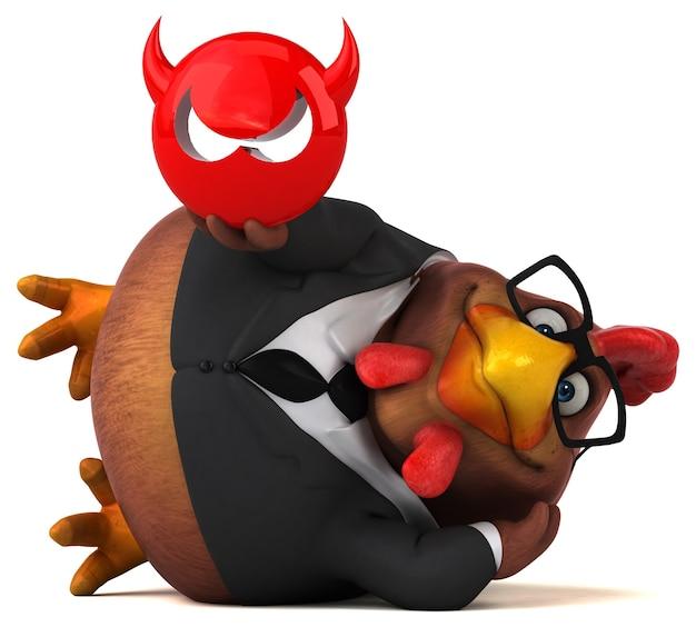 Ilustración 3d de pollo divertido