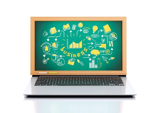 Ilustración 3d portátil con pizarra sobre fondo blanco.