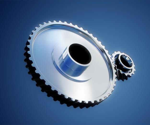 Ilustración 3d de primer plano de ruedas de metal de engranaje