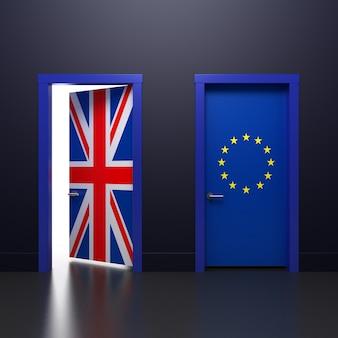 Ilustración 3d de la puerta con letreros. banderas del reino unido y de la ue en el tema del referéndum sobre el retiro de la asociación.