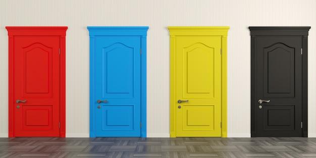 Ilustracion 3d puertas clásicas pintadas de colores brillantes en el pasillo o pasillo.